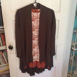 Sweaters - Long Brown Cardigan